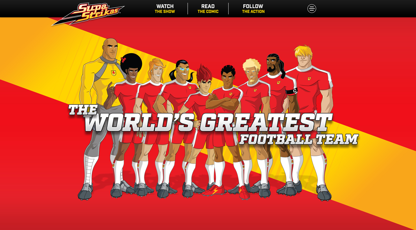 Supa Strikas Homepage without dropdown