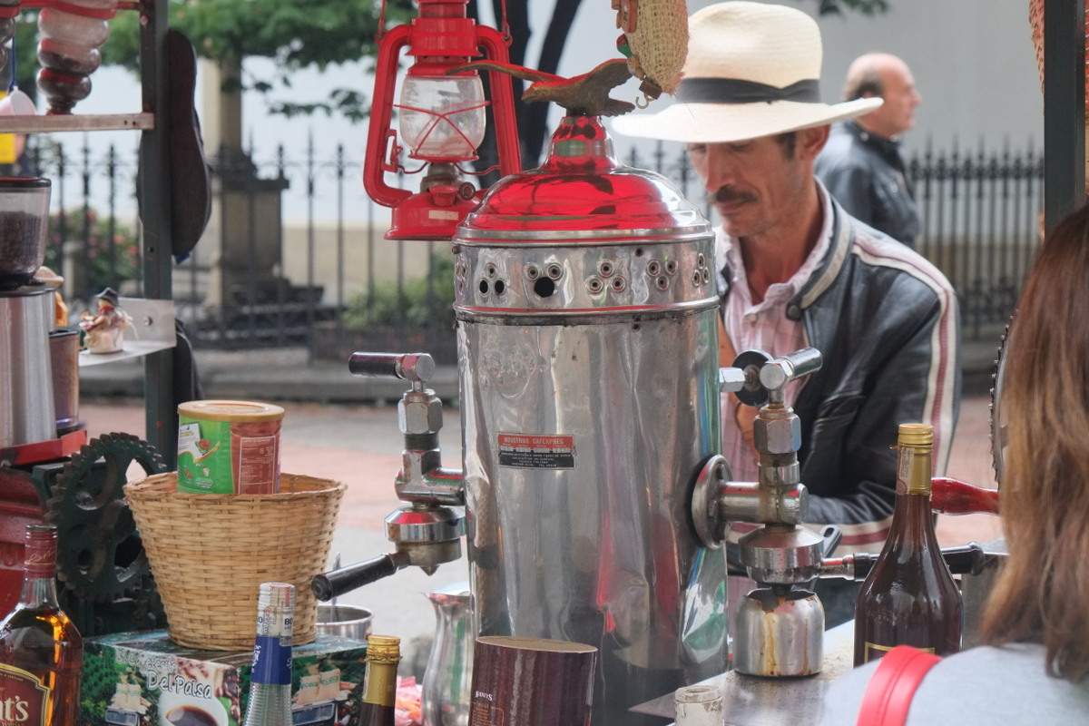 Colombian selling coffee on the streets of Bogotá