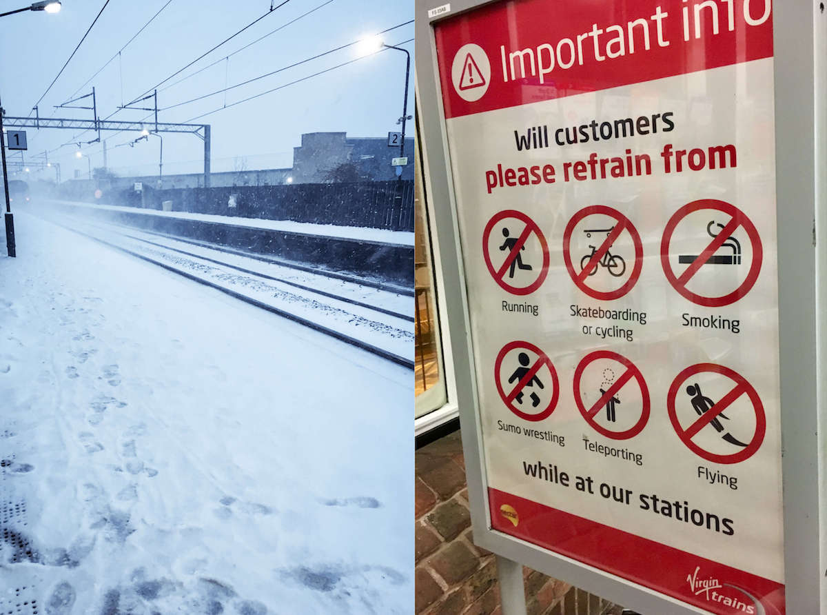 Snow and train warnings