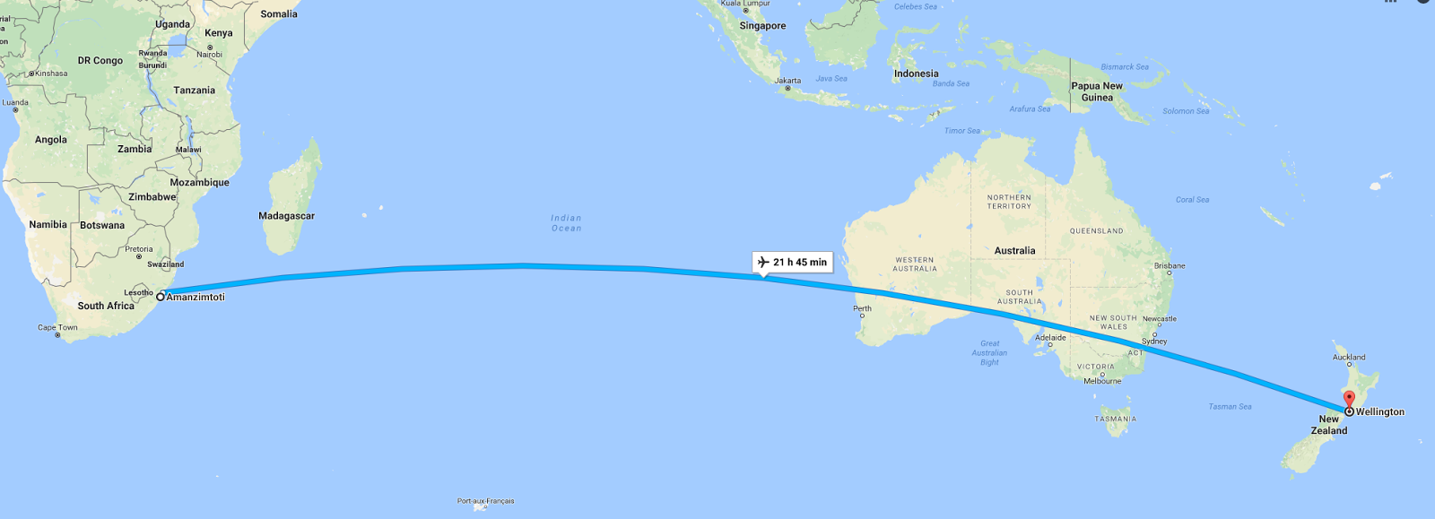 Distance between CPT and NZ