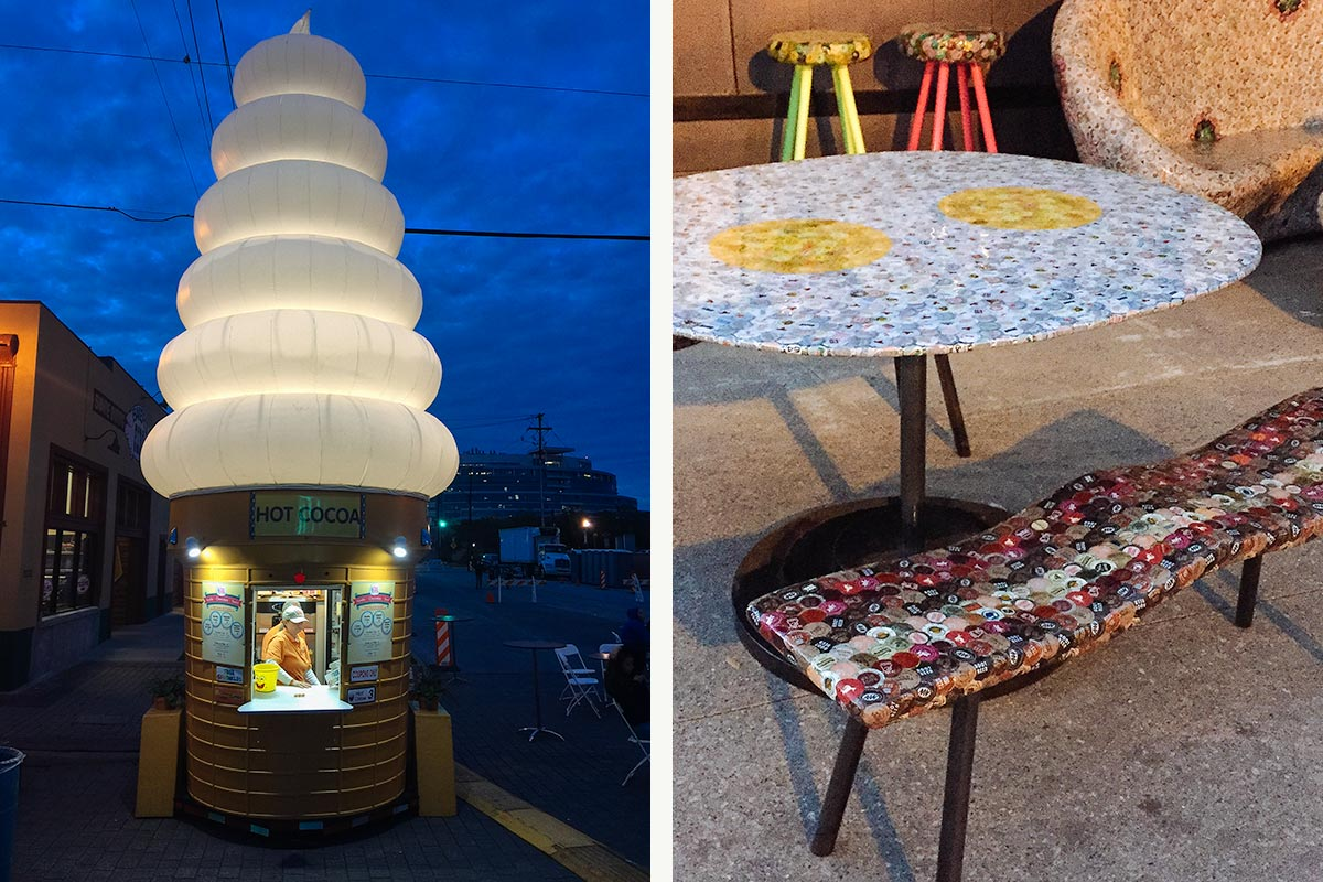 Image of giant ice cream cone and bacon and eggs dining set