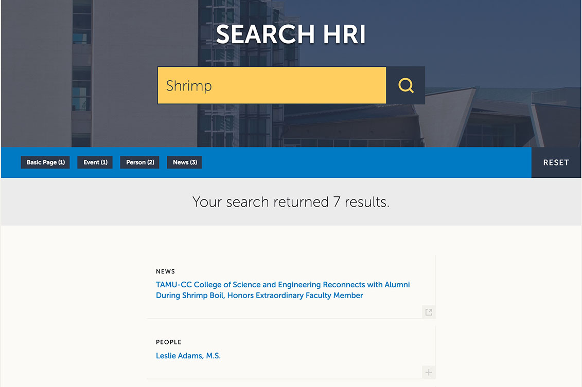Screenshot of the site search page on HRI website