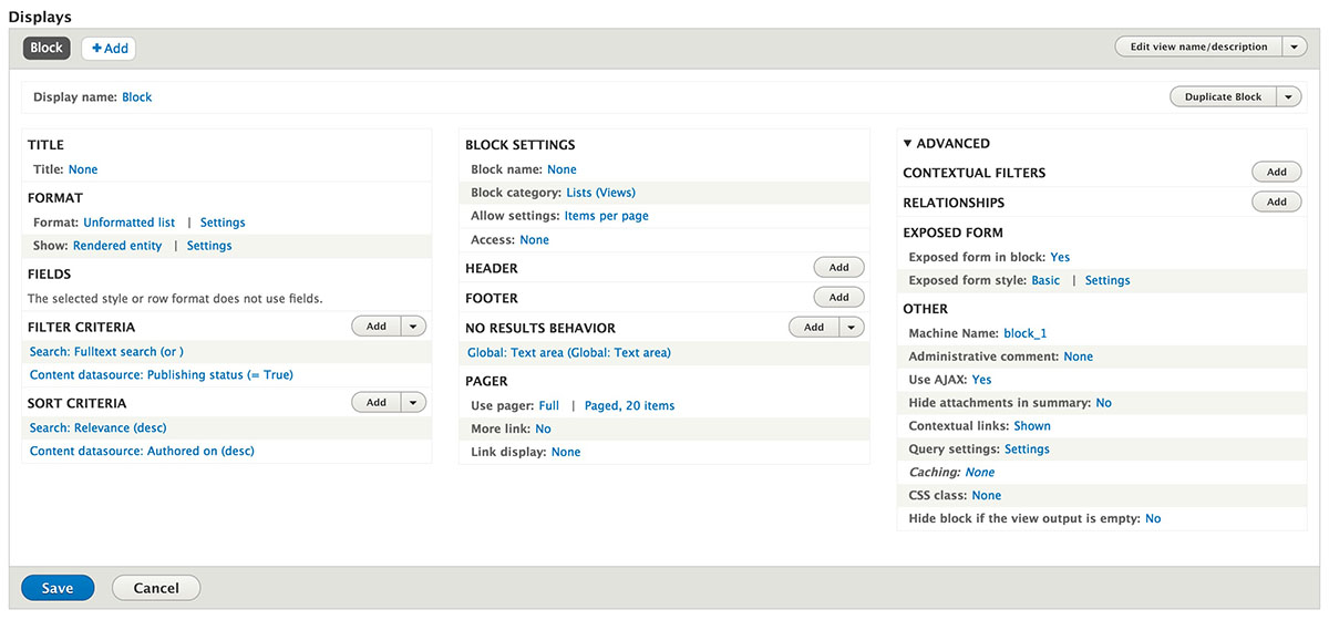 Screenshot of the views configuration for a directory page