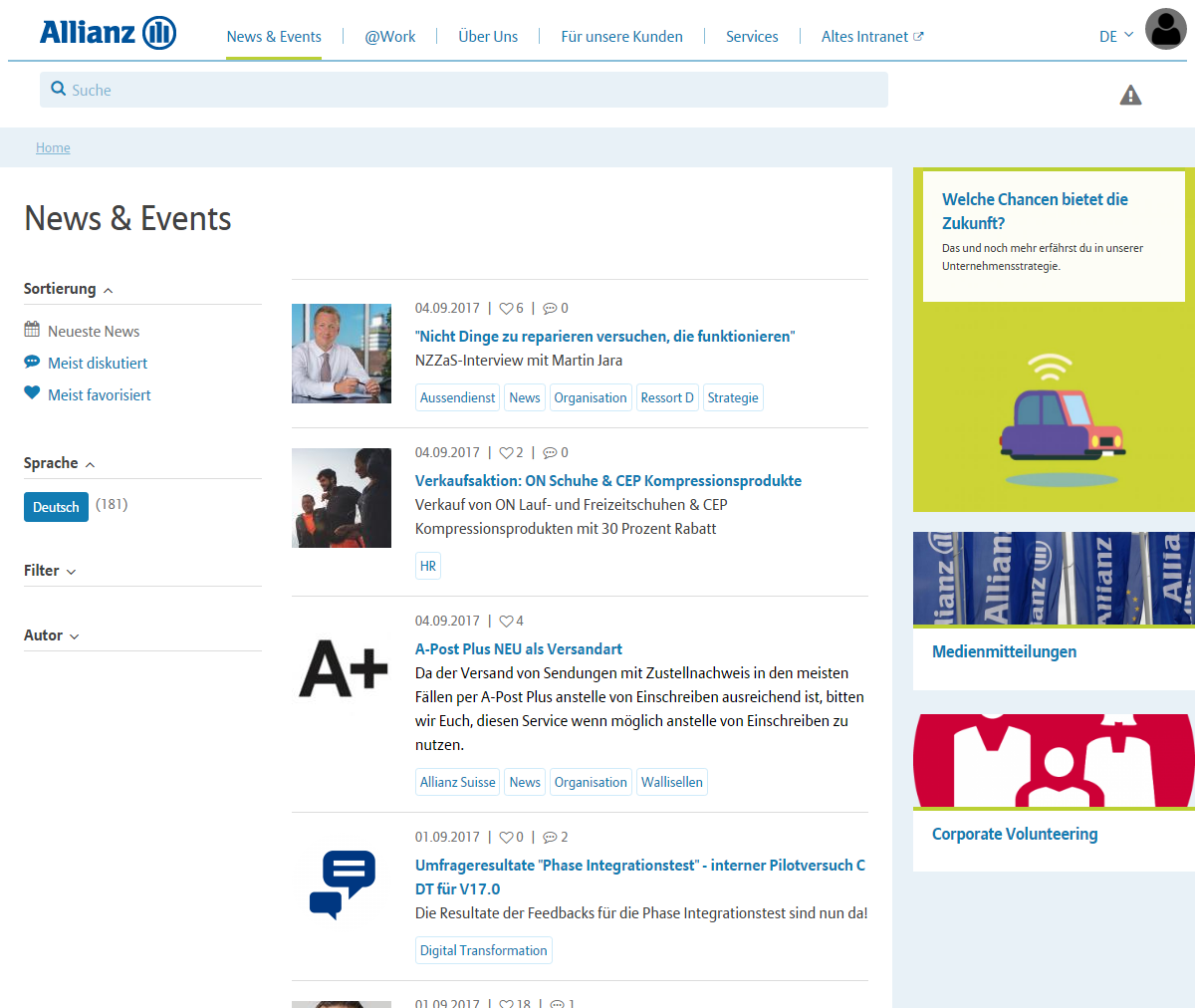 news, events, desktop Allianz