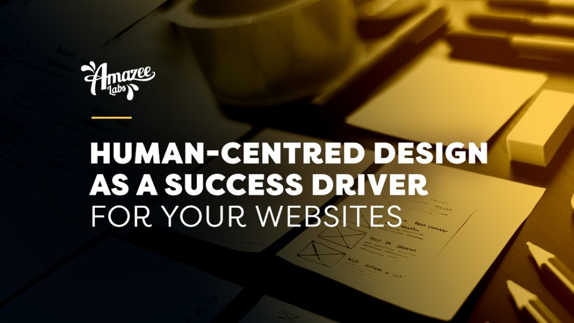 Amazee Labs Human-centred design as a success driver for your websites. UX sketches, stacks of paper, and pencils in the background