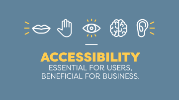 Image of icons depicting the 5 categories of disabilities affecting access to the web