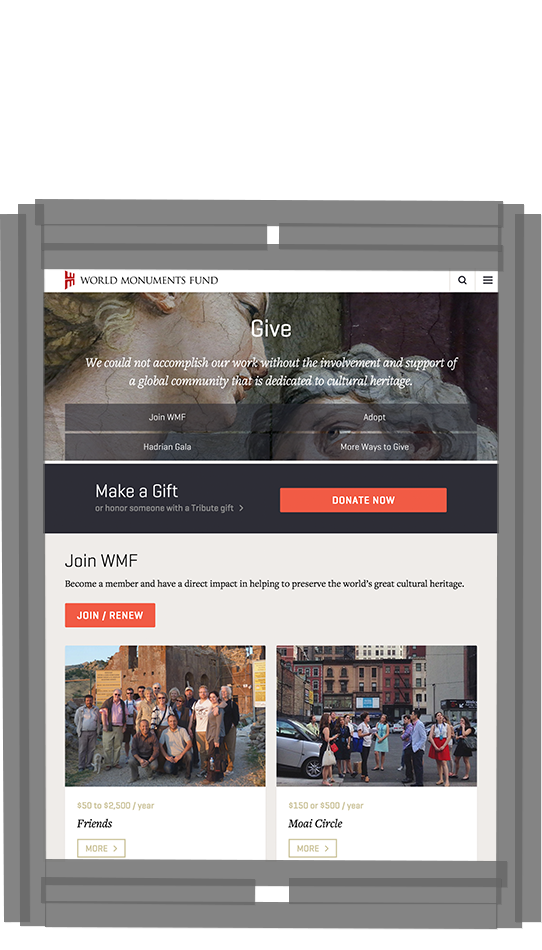 WMF Give page on tablet