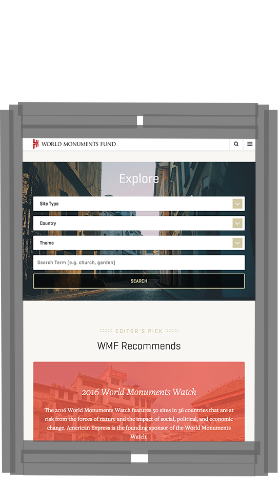 WMF Site Explorer page on tablet