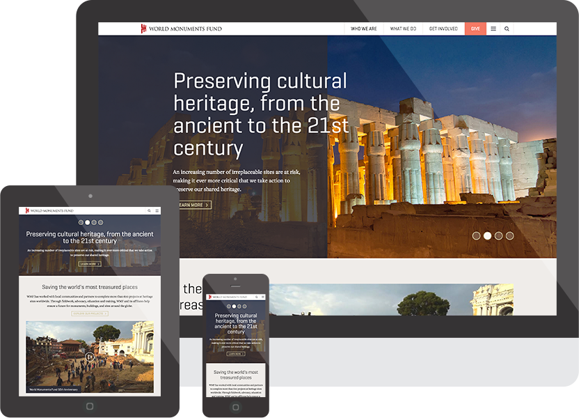 World Monuments Fund responsive screenshots